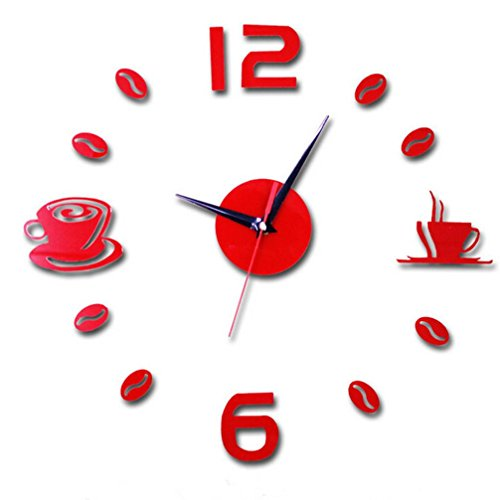 DIY Interior Creative Decoration,Sikye Number Drink a Coffee Clock Wall Sticker (Red)
