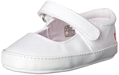 Ralph Lauren Layette Sandy MJ Crib Shoe (Infant/Toddler), White/Pink Floral Lining, 3 M US Infant
