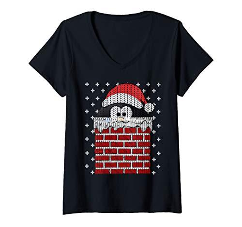 Womens UGLY CHRISTMAS Chimney Penguin Santa Hat Cute Women Men Gift V-Neck T-Shirt
