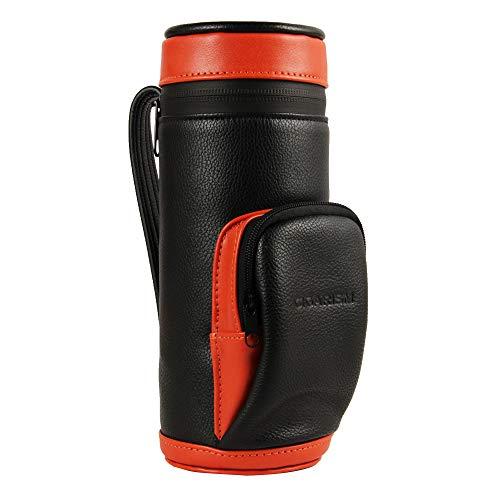 CIGARISM Leatherette Cedar Lined Cigar Jar Tube Golf Bag Holder W/Humidifier 5 Count (Orange) ()