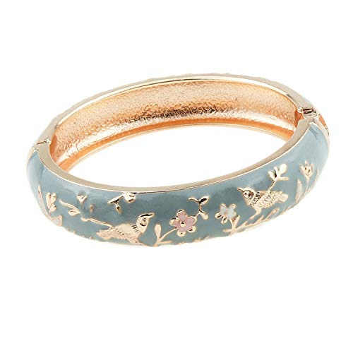 UJOY Colors Cloisonne Bracelet Handcraft Jewelry Enamel Spring Hinge Women Girls Bangle Birthday Gifts Box 55C49 Bird Grey ()
