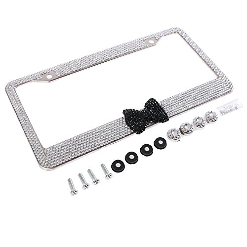 - Handmade Fashion Clear Frame Black Bow Bling Crystal Car License Plate Frame Cute Waterproof Gift Rhinestone SUV License Plate Holder Stainless Steel Truck Plate Frame for Girl(1 Frame)