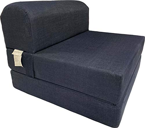 """D&D Futon Furniture Denim Sleeper Chair Folding Foam Bed Sized 6"""" Thick X 32"""" Wide X 70"""" Long, Studio Guest Foldable Chair Beds, Foam Sofa, Couch."""