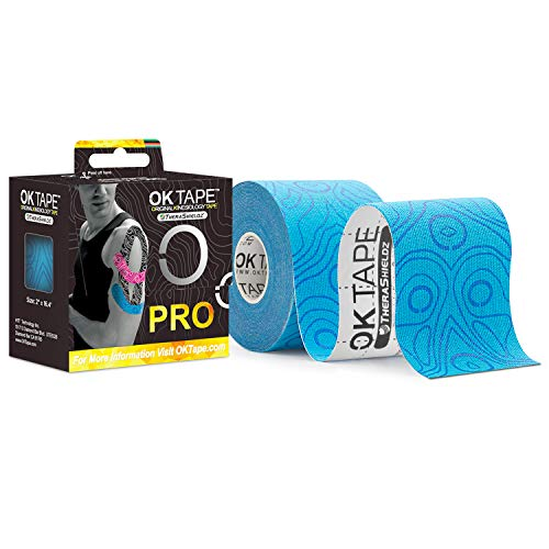 OK TAPE Pro Kinesiology Tape Roll Provide Pain Relief Muscle Sports Athletic Tape Waterproof Non-Latex Tape,Blue+Blue 2 Wide 16.4 feet Long