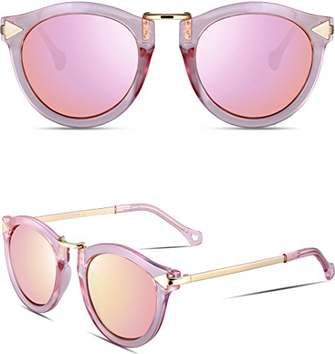 ATTCL Vintage Fashion Round Arrow Style Wayfarer Polarized Sunglasses for Women 1189-Pink