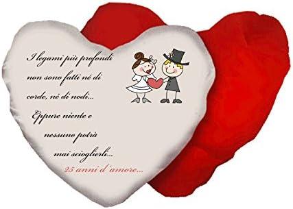 Anniversario Matrimonio Foto.Cuscino A Forma Di Cuore Con Scritta Anniversario Matrimonio 25