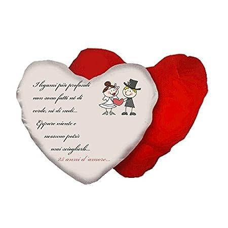 Anniversario Matrimonio 41 Anni.Cuscino A Forma Di Cuore Con Scritta Anniversario Matrimonio 25