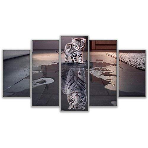 orden ahora disfrutar de gran descuento Noframe 40x60 40x80 40x100cm BAIF 5 Unidades Pintura de de de la Lona Pintura Wall Art Canvas Frame para la Sala de EEstrella Decoración 5 Panel Animal Cat Nuevo Tiger Imagen Cochetel Modular  te hará satisfecho