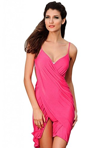 Amoretu Womens Stylish Backless Cross Front Cover-ups Beach Dress Bikini wrap Pink