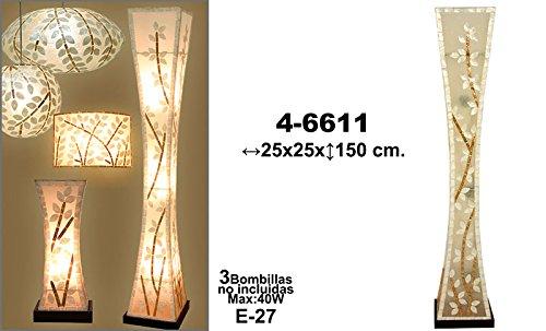 Lampara de pie fibra/nacar 25x25x150cm: Amazon.es: Iluminación