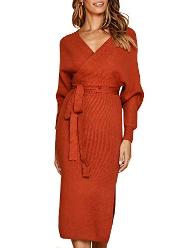 ss Wrap Sweater Dress Loose Knitted Batwing Cocktail Dress with Belt Orange ()