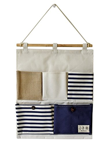 Linen Cotton Fabric 5 Pockets Wall Hold Pocket Household Back Door Pouch (Blue Stripes,13.7x17.7In)