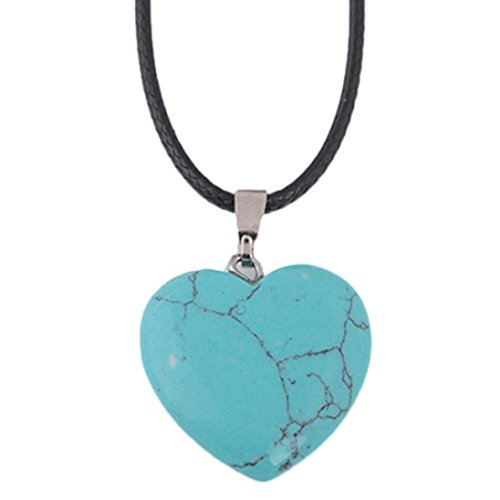 Crystal Necklace, Kimloog Women's Natural Agate Stone Heart Pattern Quartz Pendant (Green) ()