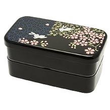 Kotobuki 280-274 2-Tiered Bento Box, Rabbit and Cherry Blossom