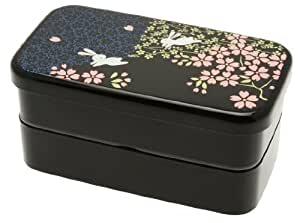kotobuki 280 274 2 tiered bento box rabbit and cherry blossom home kitchen. Black Bedroom Furniture Sets. Home Design Ideas