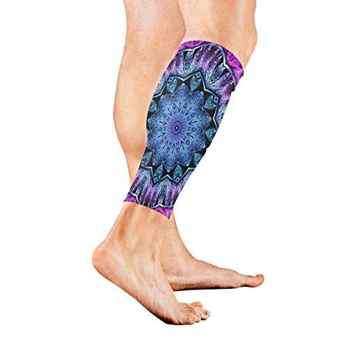 Leg Sleeve Glossy Blue Purple Fractal Mandala Compression Socks Support Non Slip Calf Sleeves Pads for Running, Shin Splint, Calf Pain Relief, Runners, Medical, Air Travel, Nursing, Cycling 1Pair