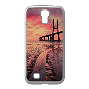 Sunset Bridge Watercolor style Cover Samsung Galaxy S4 I9500 Case (Landscape Watercolor style Cover Samsung Galaxy S4 I9500 Case)