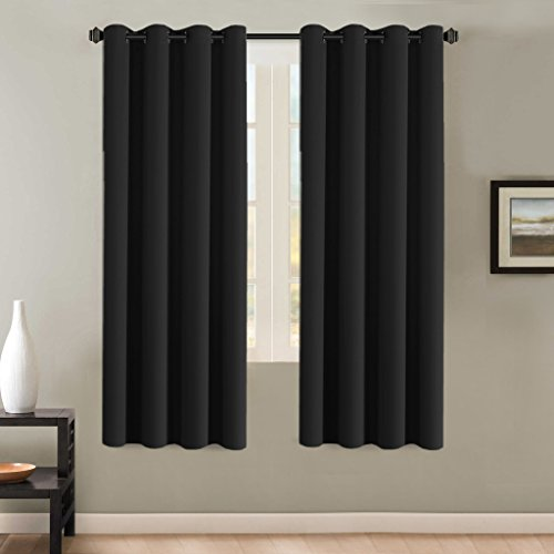 H.Versailtex Thermal Insulated Blackout Curtains Window Panel Drapes - 2 Panels Set-52x72 Inch with Gun Metal Color Grommet Top (Jet Black) (Jet Grommet)