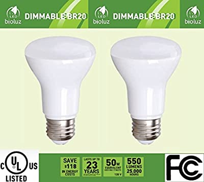 BR20 R20 LED Bulb, Bioluz LED Dimmable BR20 7W (50 Watt Equivalent) Indoor/Outdoor Floodlight LED Bulbs Medium Base (E26) UL Listed