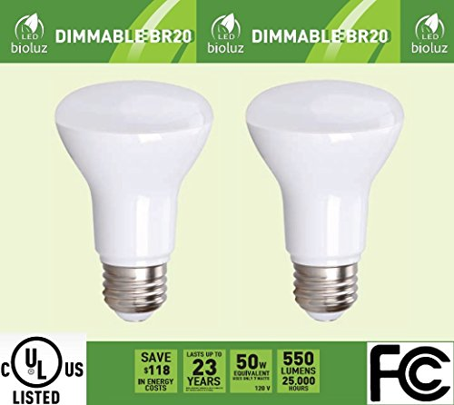 2 Pack Bioluz LED Br20 LED Bulb Dimmable 7w (50w Equivalent) 2700K Bright Warm White 550 Lumen Smooth Dimmable Lamp - Indoor / Outdoor UL Listed (Pack of 2)
