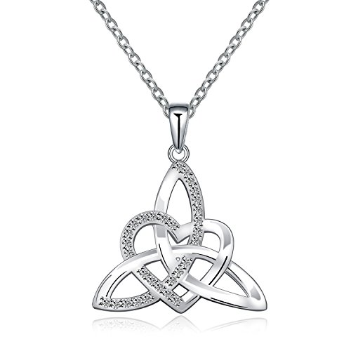 Celtic Trinity Knot - MONBO Irish Celtic Trinity Knot Necklace Sterling Silver Heart Shape Triquetra Trinity Knot Vintage Pendant Necklace for Women (Celtic Triquetra Necklace)