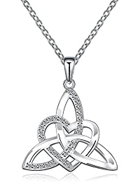 Irish Celtic Trinity Knot Necklace Sterling Silver Heart Shape Triquetra Trinity Knot Vintage Pendant Necklace For Women