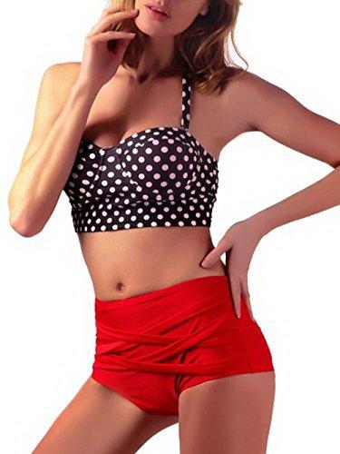 Gritu Swimwear Women's Slimming High-Waisted Bikini 2 Piece Set Black M