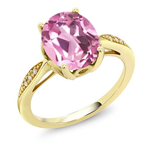 Gem Stone King 3.04 Ct Oval Light Pink Created Sapphire White Diamond 14K Yellow Gold Ring (Size 6)