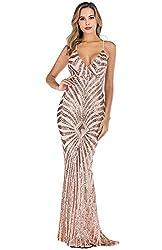 Gold_2 Sequin V Neck Backless Spaghetti Strap Dress