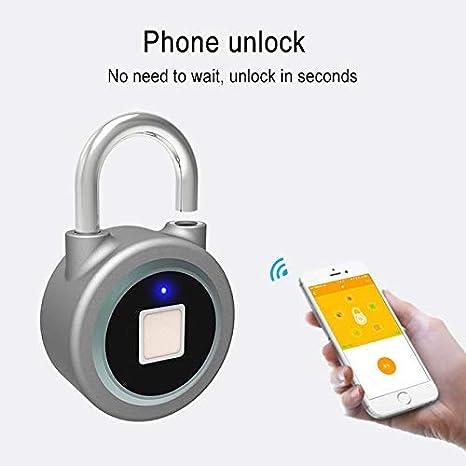 Control de aplicaci/ón reconocimiento de Huellas Dactilares Bloqueo de Bluetooth luoOnlineZ Candado de Huella Dactilar antirrobo candado para port/ón de Equipaje de Bicicleta