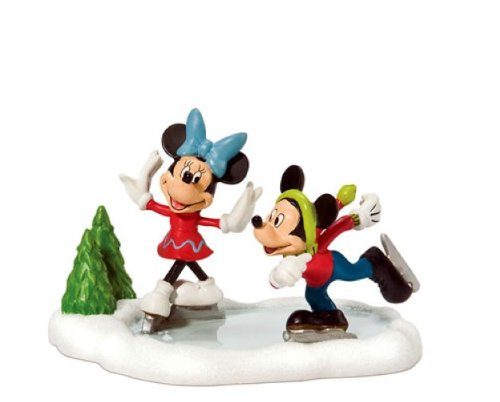Department 56 Disney Village Mickey and Minnie Ice Skating Accessory Figurine