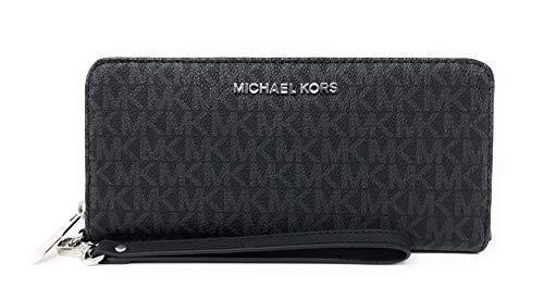 MICHAEL KORS Jet Set Travel Continental PVC Signature Zip Wallet Wristlet in Black