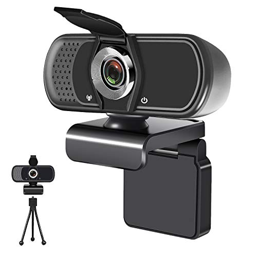 1080P USB Computer Webcam with Microphone Tripod Stand Cover for Windows Mac OS PC Laptop Desktop