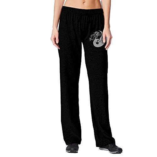PAT-11 Bonsai Tree On The Yin Yang Symbol Woman Sport Elastic Waist Jogger Pants For Workout | Beam (Black Beams)