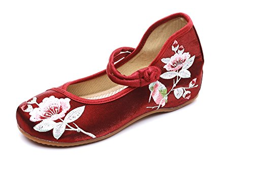 Lazutom Women Lady Chinese Style Embroidery Casual Mary Jane Cheongsam Party Dress Shoes Wine Red HG1FpzJeYp
