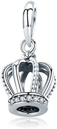 Wostu My Princess Charms 925 Sterling Silber Königin Krone baumeln Charms für Armbänder Frauen Mädchen Charms