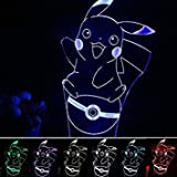 SUPERNIUDB Pokemon GO Pikachu 3D LED Nightlight 7 Color Desk Table Lamp