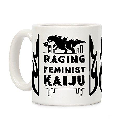 (LookHUMAN Raging Feminist Kaiju White 11 Ounce Ceramic Coffee Mug)