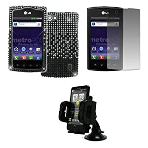 EMPIRE LG Optimus M+ MS695 Full Diamond Bling Hard Case Cover (Black to Silver Fade) + Car Dashboard Mount + Screen Protector [EMPIRE Packaging]