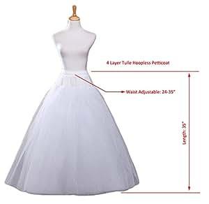 PANLIFE A-line Hoopless Petticoat Crinoline Underskirt Slips Wedding Accessories