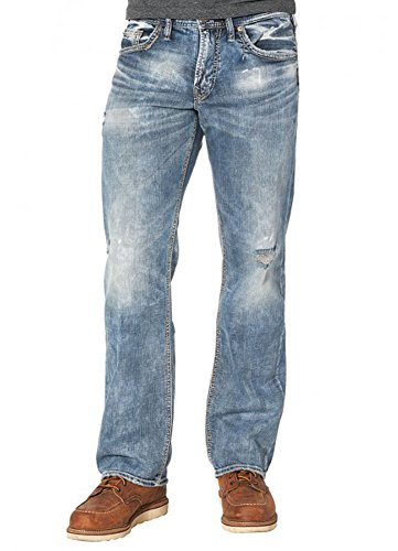 (Silver Jeans Co. Men's Zac Relaxed Fit Straight Leg Jeans, Light Distressed, 31Wx 32L)