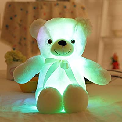 GS 50CM Creative Light Up LED Teddy Bear Pillow Toy Stuffed Bear Animals Plush Toy Gifts for Kids (White): Kitchen & Dining [5Bkhe0802130]