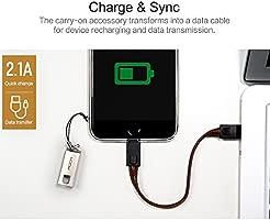 ROCK iPhone 7 Cuero Vegano Cable de Carga con Llavero,14cm Corto Lightning USB Cable de Datos[Carcasa de Metal][Lanyard Portátil]para iPhone iOS ...