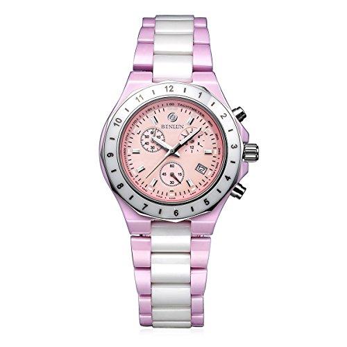 BINLUN Japanese Quartz White Pink Ceramic Luminous GMT Women's Sports Chronograph Watch Date Female ()