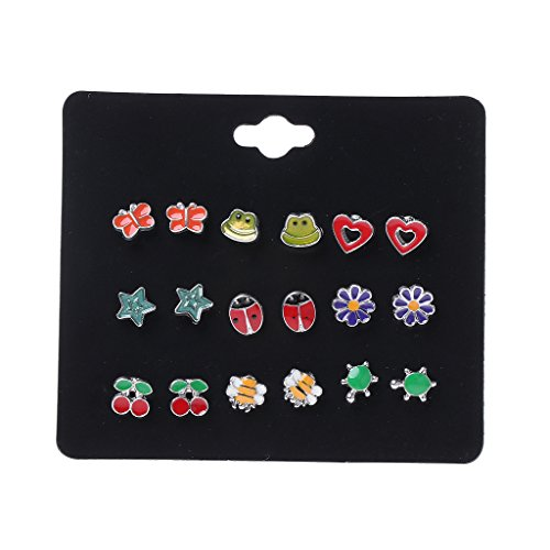 Set Butterfly Earring Stud (Richi 9 Pairs Cute Small Animal Fruit Fox Butterfly Stud Earrings Set For Kids Girls (A))