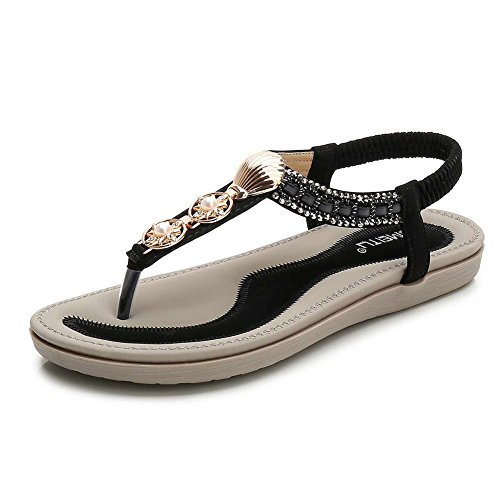 - Meeshine Womens Summer Beach Flat Sandals Rhinestone Shiny Beads Slip On Flip Flops Thong Shoes(8.5 B(M) US,Black 05)