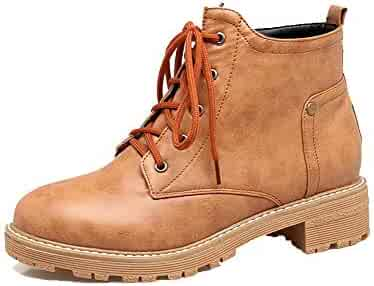WeiPoot Womens Solid Pu Low-Heels Lace-Up Round-Toe Boots EGHXH122556