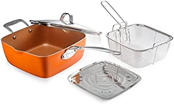 """Orange Frying Basket Steamer Tray 4 Piece Set Gotham Steel Titanium Ceramic 9.5/"""" Non-Stick Copper Deep Square Frying /& Cooking Pan With Lid"""