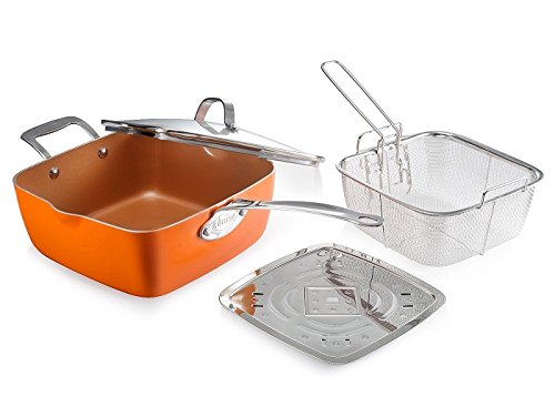 """Gotham Steel Titanium Ceramic 9.5"""" Non-Stick Copper Deep Square Frying & Cooking Pan With Lid, Frying Basket, Steamer Tray, 4 Piece Set - Orange"""
