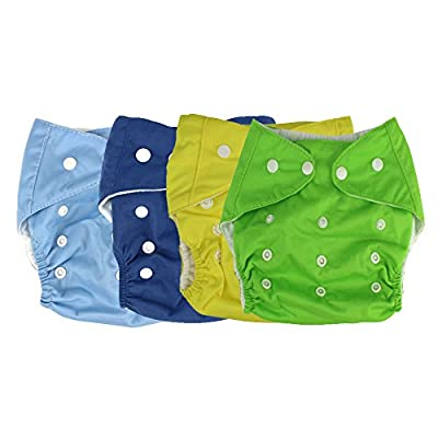Baby Cloth Diaper Breathable Adjustable Snap Washable Reusable for Kids Boys 4 Pack